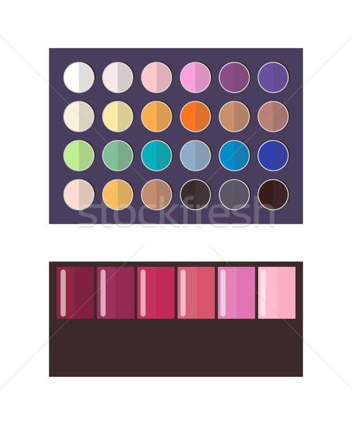Composent palette fard à paupières cosmétiques objets utilisé Photo stock © robuart