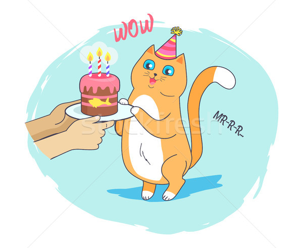 Festive Card with Cheerful Cat Vector Illustration Stock photo © robuart