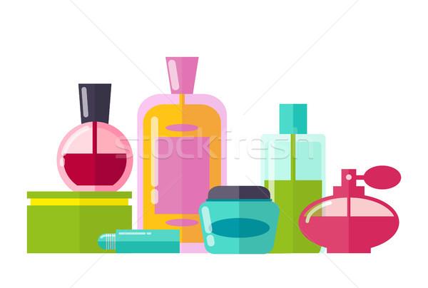 Parfumerie ensemble bouteilles verre huiles essentielles élégante Photo stock © robuart