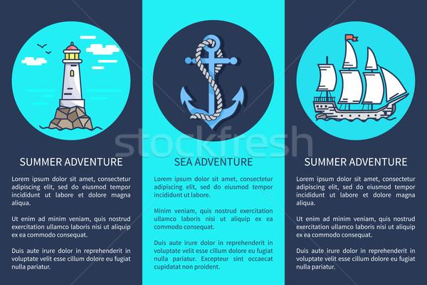 Ingesteld posters zee zomer reclame tekst Stockfoto © robuart