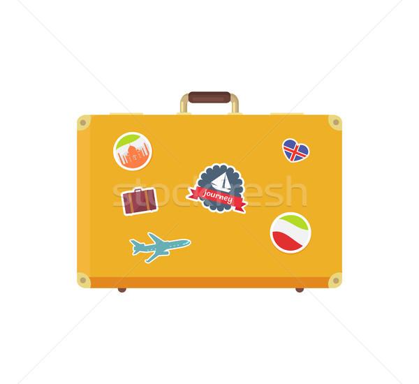 żółty retro walizkę pamięć naklejki żaglówce Zdjęcia stock © robuart
