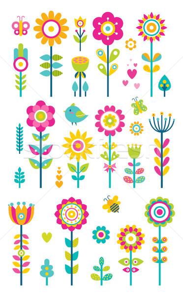 Stock fotó: Szett · tavasz · virágok · méhek · pillangók · madarak
