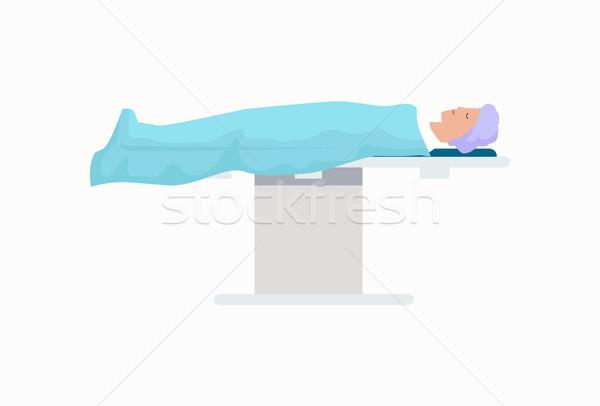 Pacjenta chirurgiczny tabeli ikona pokryty jasnoniebieski Zdjęcia stock © robuart