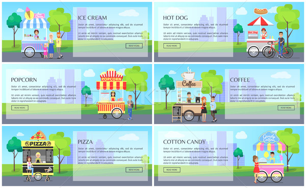 Hot Dog and Cotton Candy Set Vector Illustration Stock photo © robuart