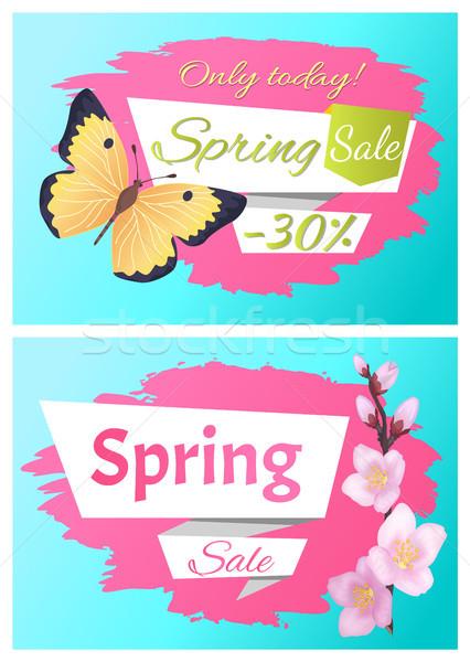 Dzisiaj wiosną sprzedaży zestaw plakat Motyl Zdjęcia stock © robuart