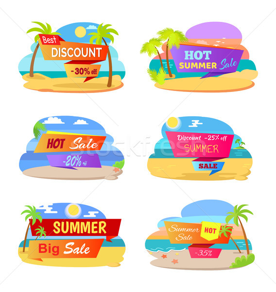 Hot Summer Sale Promotional Stickers with Beach Stock photo © robuart