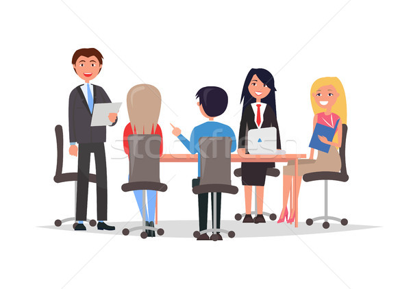 Managers Exchange Information Discuss Work Issues Stock photo © robuart