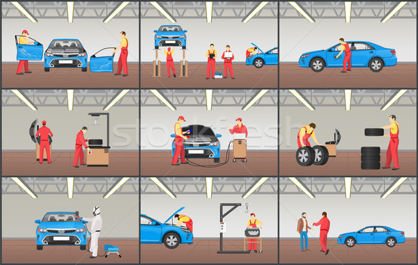 Automobile Service Color Vector Illustrations Set Stock photo © robuart