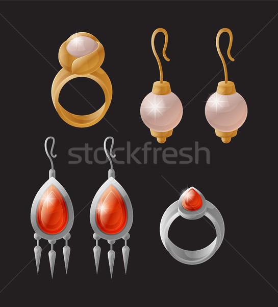 Stock fotó: Fülbevaló · gyűrű · gyűjtemény · elegáns · vagyonos · gazdag