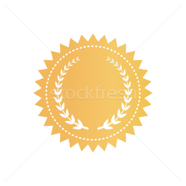 Round Gold Certificate Logotype with Laurel Wreath Stock photo © robuart