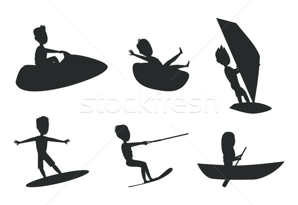 Nyár sport szett sziluettek fánk csónakázás Stock fotó © robuart
