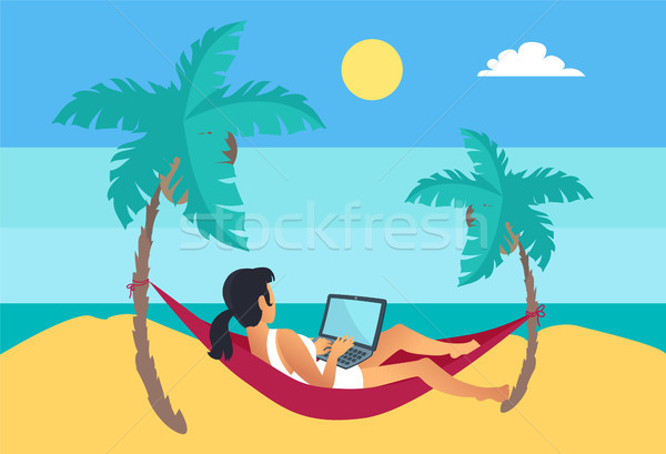 Distant Worker Laptop Freelancer Woman Hammock Stock photo © robuart