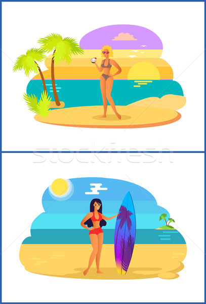 Stock photo: Girls with Cocktail Surfboard Vector Illustration
