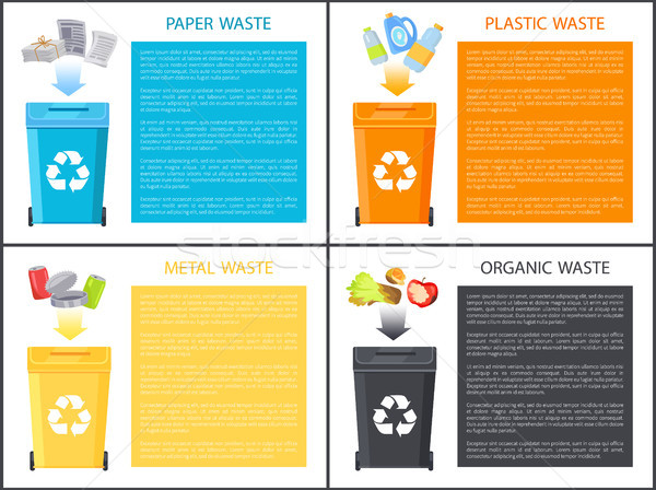 Paper Plastic and Metal Waste Vector Illustration Stock photo © robuart