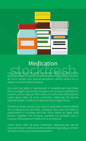 Médication affiche bouteilles verre plastique Photo stock © robuart