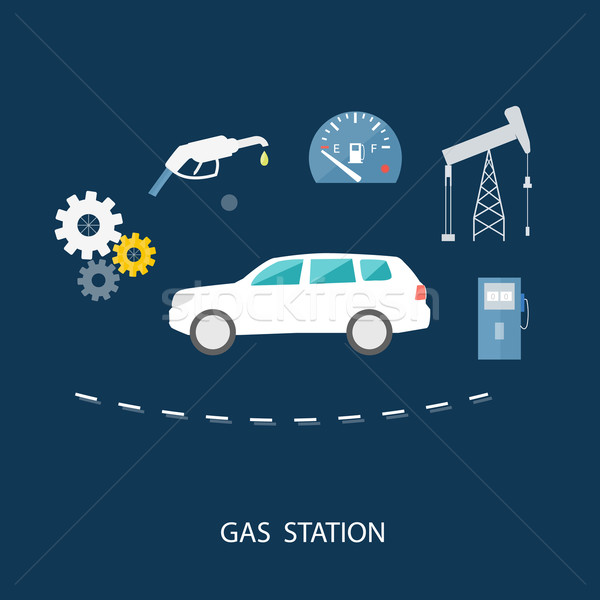 Car in gas station. Fuel petrol dispenser pump Stock photo © robuart