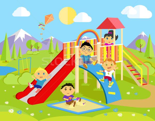 Playground with Slide and Children Stock photo © robuart