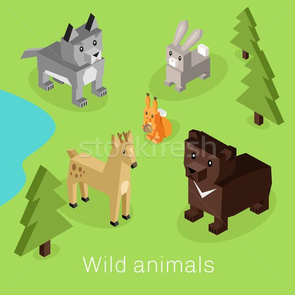 Wildes Tier Set 3D Design wilde Tiere Stock foto © robuart