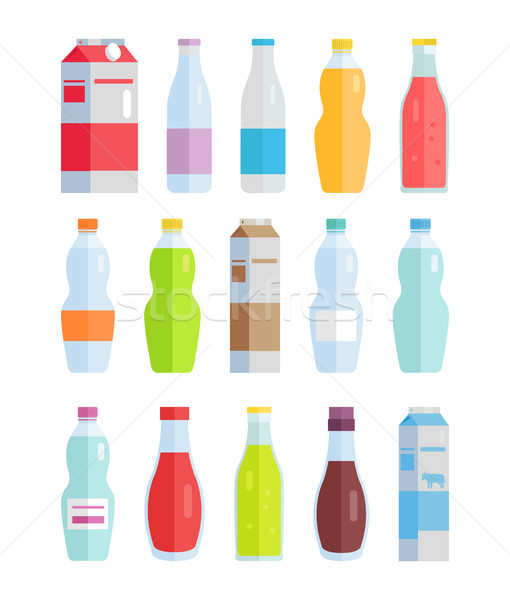Set of Variety Bottles and Packs with Beverages Stock photo © robuart