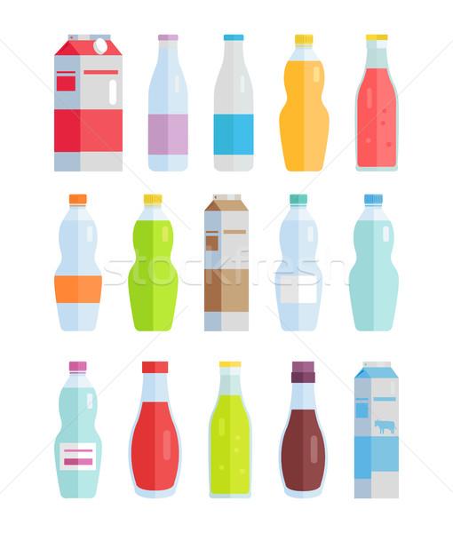 Set Vielfalt Flaschen Getränke Papier Wasser Stock foto © robuart