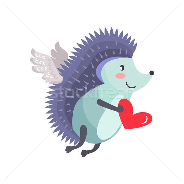 Kirpi kanatlar sevmek kalp el uçan Stok fotoğraf © robuart