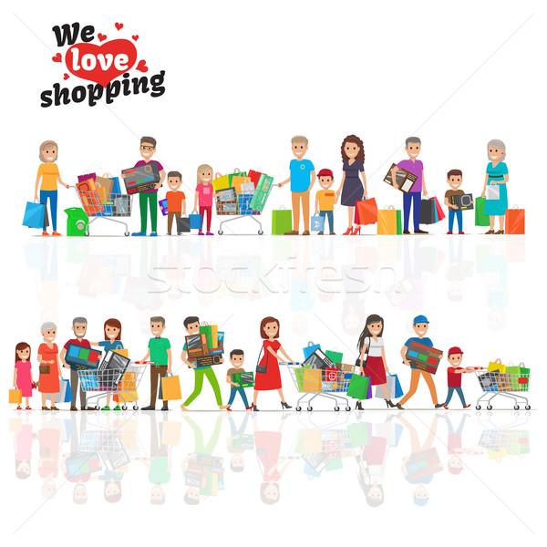 Szeretet vásárlás kettő vonalak emberek vízszintes Stock fotó © robuart