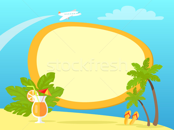 Tropical Island with Palms and Yellow Flip Flops Stock photo © robuart