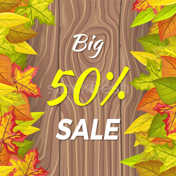 Big 50 Percent Sale Fall Banner Isolated on Wooden Stock photo © robuart