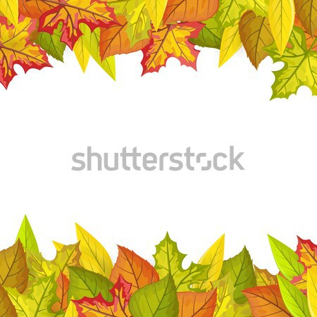 Autumn Leaves Vector Frame in Flat Design   Stock photo © robuart
