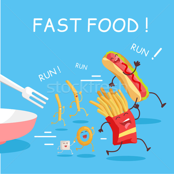 Fast Food Cartoon Characters Banner Stock photo © robuart
