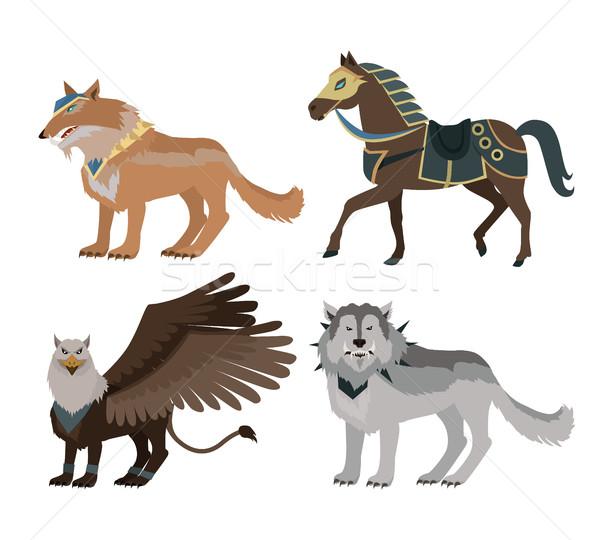Fantastique loup design bataille équitation animaux Photo stock © robuart
