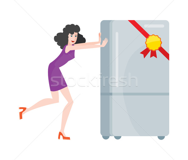 Woman Buys Refrigerator Electronic Device at Sale Stock photo © robuart