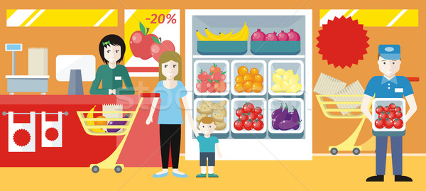 Shopping in Grocery Store Concept Illustration. Stock photo © robuart