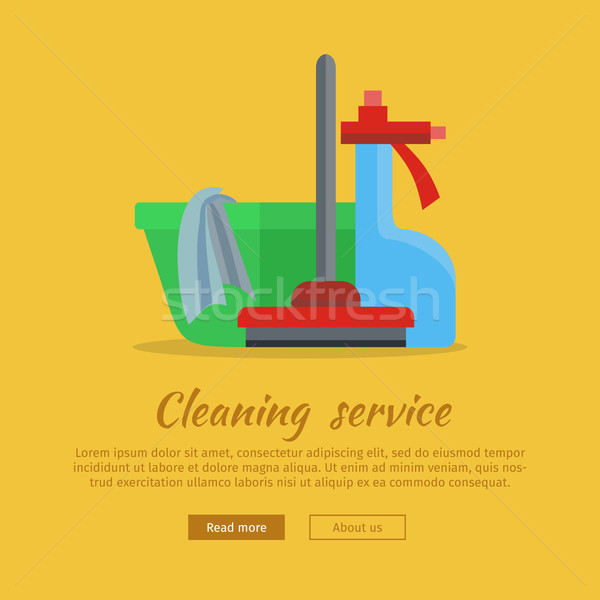 Banner with Basin, Duster, Broom, Glass Cleaner Stock photo © robuart