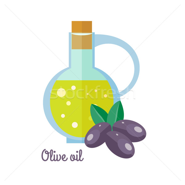 Olive Oil in Bottle with Black Olives Flat Design Stock photo © robuart