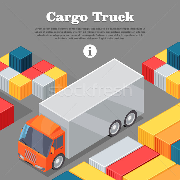 Cargo Truck and Intermodal Containers Web Banner. Stock photo © robuart