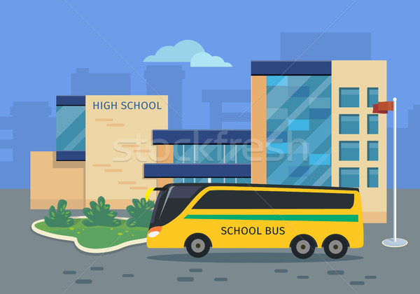 High School Building with Yellow Bus Illustration Stock photo © robuart