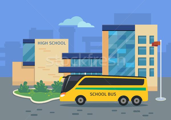 Escuela secundaria edificio amarillo autobús ilustración diseno Foto stock © robuart