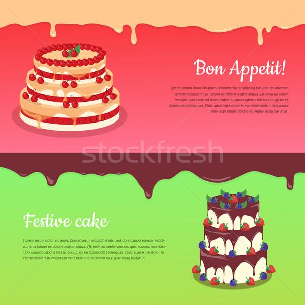 ünnepi torta háló szalag csokoládé csokoládés sütemény Stock fotó © robuart