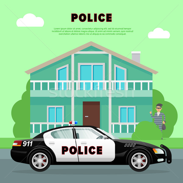 Police Car on the Street near Bank with Robber. Stock photo © robuart