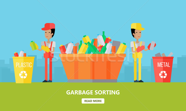 Garbage progettazione di siti web modello due uomini rifiuti riciclaggio Foto d'archivio © robuart