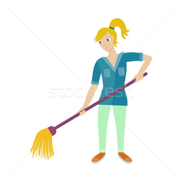 Female Worker of Cleaning Company with Broom. Stock photo © robuart