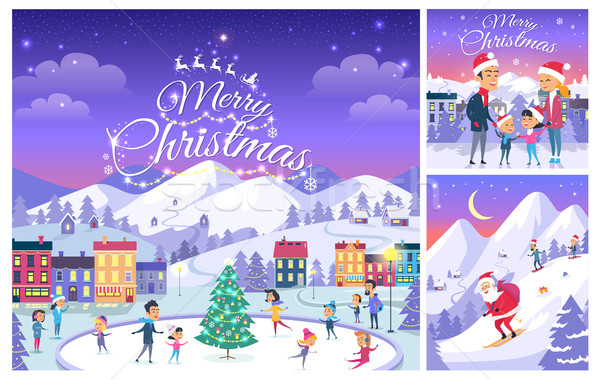 Merry Christmas. Collage of People on Holiday Stock photo © robuart