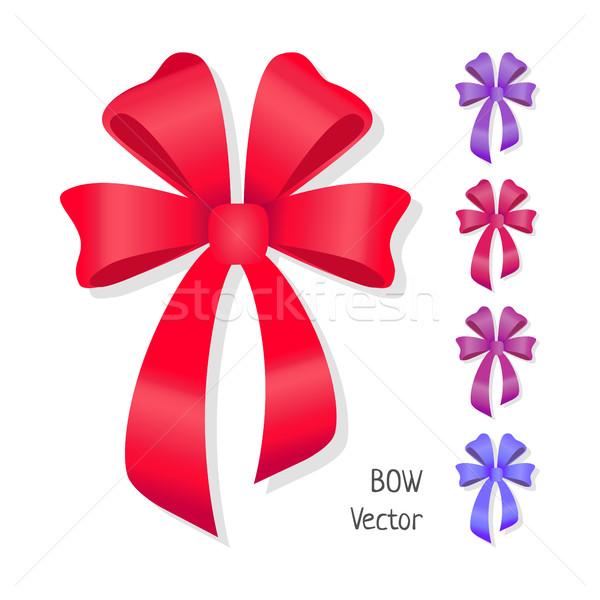 Vector boeg ingesteld geïsoleerd kleuren aanwezig Stockfoto © robuart