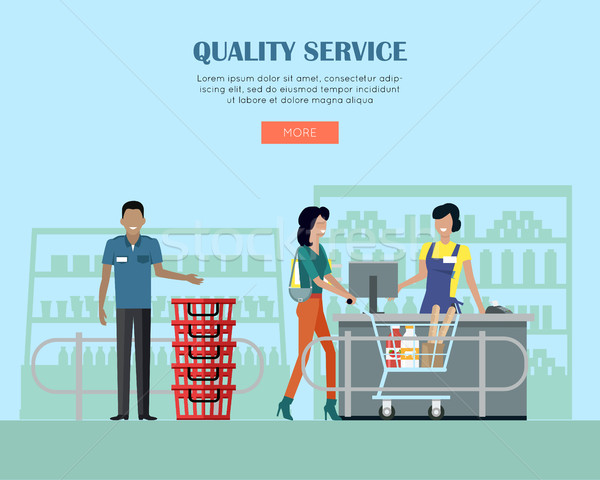 Quality Service in Supermarket Concept Banner.  Stock photo © robuart