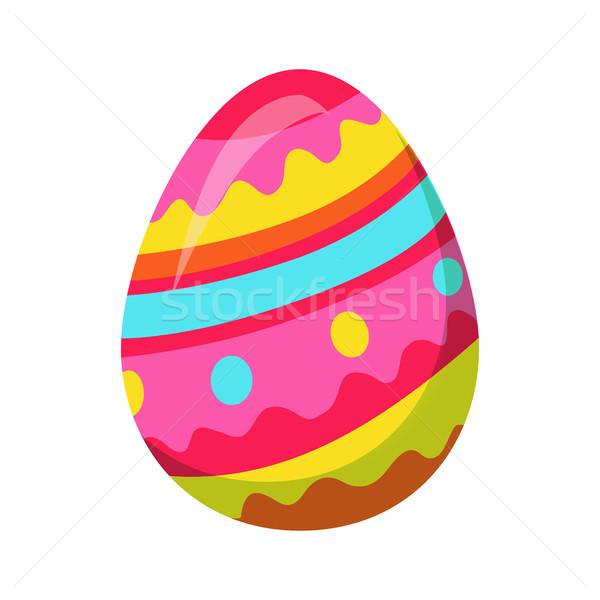 Photo stock: œuf · de · Pâques · zigzag · coloré · lignes · vecteur · isolé