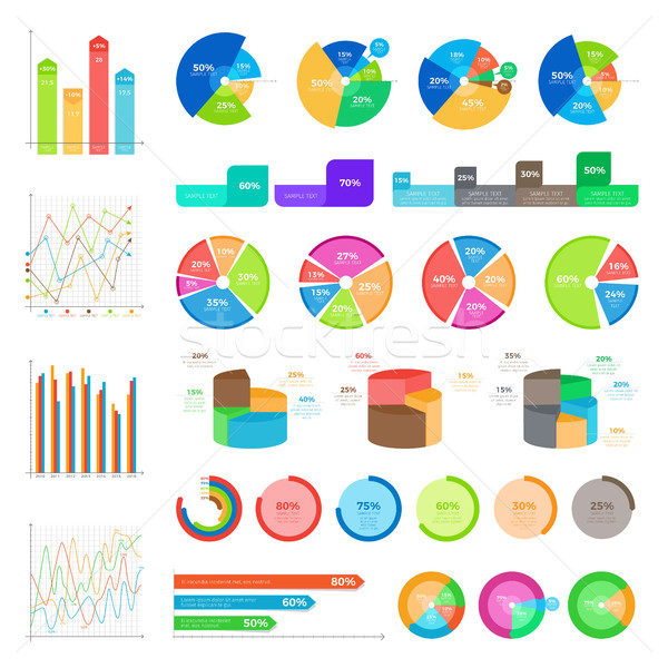 Collection of Infographics Colourful on White Stock photo © robuart