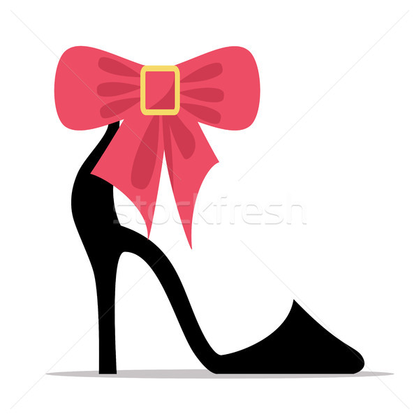 Womens Shoe with High Stiletto Heel and Bow Vector Stock photo © robuart