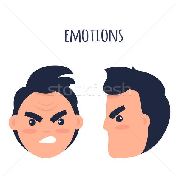 Emozioni arrabbiato uomo facce isolato illustrazione Foto d'archivio © robuart