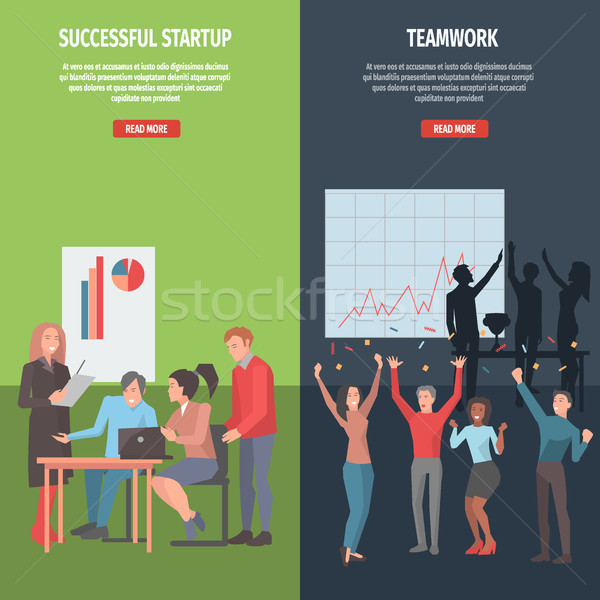 Teamwork and Successful Startup Information Page Stock photo © robuart